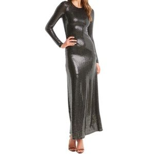 NWT Bardot Mirror Maxi Dress Silver Sequin XS